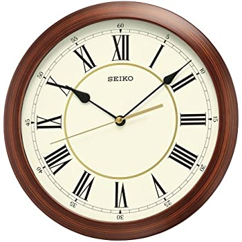 Amazon Com Seiko Round Wood Finish Wall Clock Home Amp Kitchen