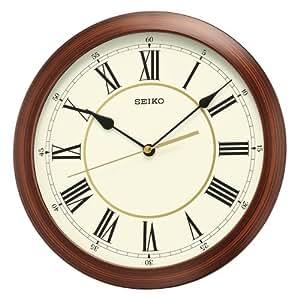 Amazon Com Seiko Round Wood Finish Wall Clock Home Amp Kitchen
