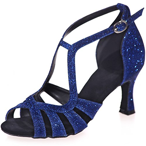 Buckle Clearbridal Salsa Women's Sandals Ballroom Ankle Heel Leather Blue Dance Strap High Latin 07 ZXF8349 Shoes XBB8grn