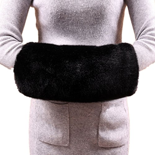 Rabbit Fur Muff (Wed2BB Black Faux Fur Hand Muffs, Women Warm Faux Rabbit Fur Muffs)