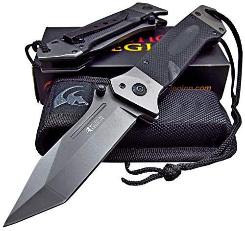 Tactical Legion Spring Assisted Opening Knife - Heavy Duty Design - Razor Sharp Blade - Includes Cordura Sheath