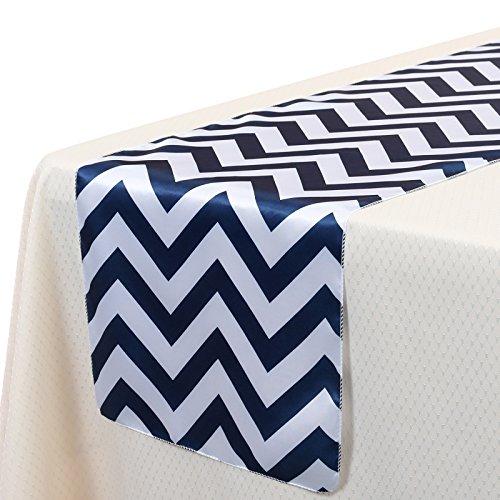 VEEYOO 14x108 Inch Satin Chevron Wedding Party Table Runner Cloth Cover Navy Blue