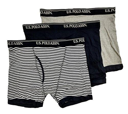 U.S. Polo Assn... Men's 3 Pack Cotton Boxer Brief (Heather Grey/Black/Stripes Black and White, XL)