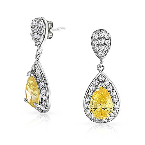 (Pave CZ Halo Teardrop Cubic Zirconia Canary Yellow Dangle Drop Earrings For Women 925 Sterling Silver)