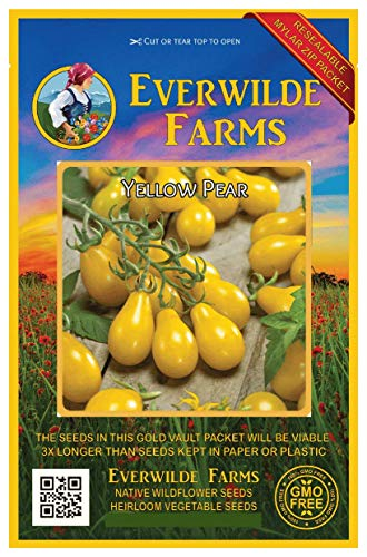 Everwilde Farms - 100 Yellow Pear Tomato Seeds - Gold Vault Jumbo Seed Packet (Tomato Pear Plants)
