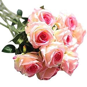 YJYDADA Artificial Fake Roses Flannel Flower Bridal Bouquet Wedding Party Home Decor 49