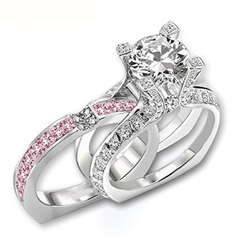 Antique Engagement Ring Set (Silver Tone CZ Wedding Band Engagement Solitaire Ring Bridal Sets Pink Size 6)
