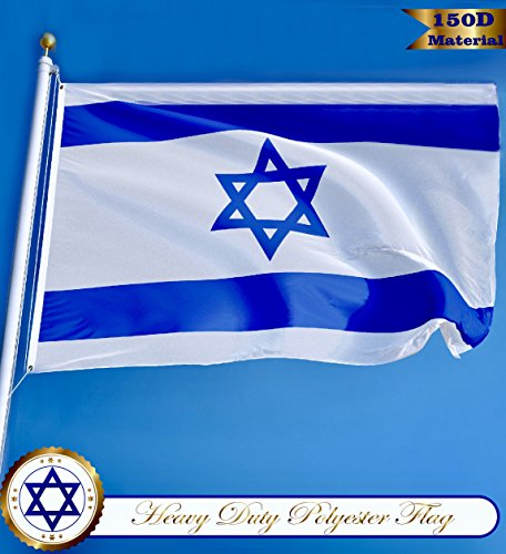 G128 - Israel Flag 3x5 ft Printed Brass Grommets 150D Quality Polyester Flag Indoor/Outdoor - Much Thicker and More Durable than 100D and 75D (Israel Indoor Flag)