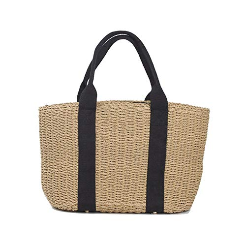 - Tote Bag Patchwork Stripes Straw Bags Woven Color Beach Bag Shopping Shoulder Bags C56,Coffee,(one size)