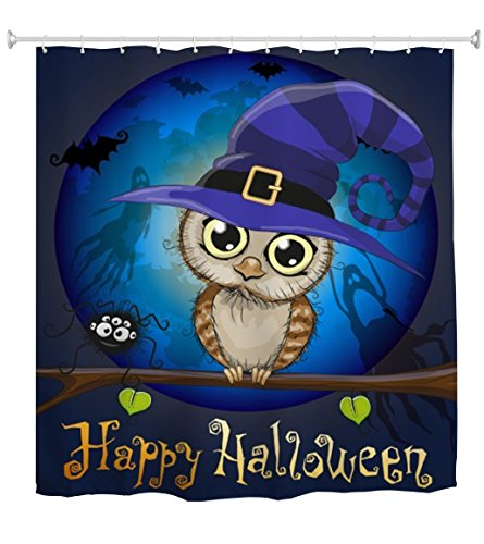 Halloween Shower Curtain, Owl Under The Moon Pattern Waterproof Polyester Fabric Bathroom Bath Curtains, 72 x 72 Inch, Blue -