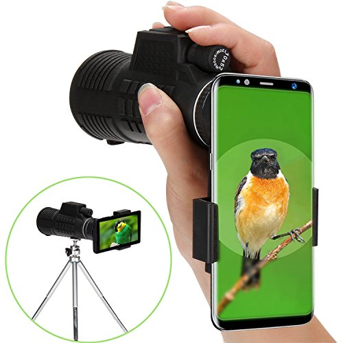 Tonyhoney Monocular Telescope, 10X52 Monocular Scope Handheld High Powered Telescope Waterproof for Bird Watching, Concert, Hunting, Surveillance, Black