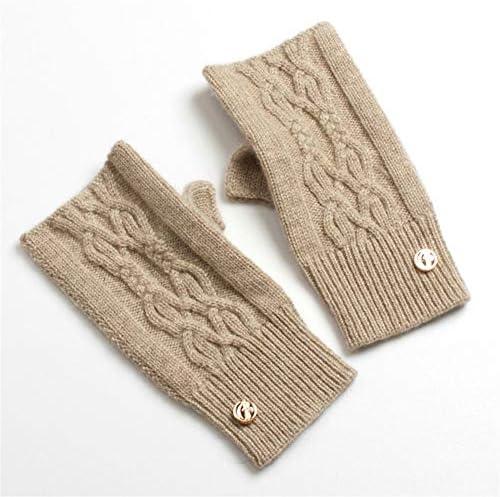 BTXXYJP 冬のミットニットニットコールドピュアウォームレディース手袋屋外手袋 (Color : 緑, Size : One Size)