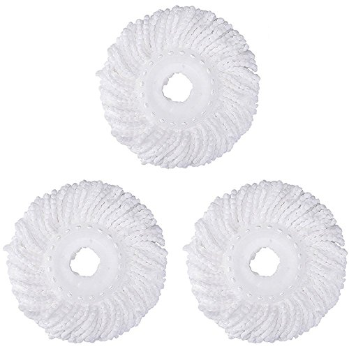 - 3 Replacement Mop Micro Head Refill For 360° Spin Magic Mop-Microfiber Replacement Mop Head-Round Shape Standard Size White-3 Pack