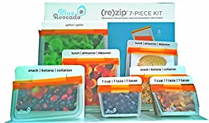 Blue Avocado (Re)zip Reusable Storage, Snack, and Sandwich Bags; 7-piece Kit