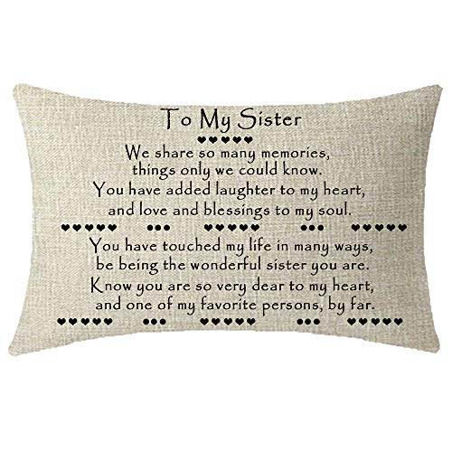 NIDITW Great Sisters Gift On Her Wedding Day Hearts to My Sister We Share So Many Memories Things Only We Could Know Burlap Throw Pillow Case Cushion Cover Sofa Couch Decorative Rectangle 12x20 Inches (To My Best Friend On Her Birthday)