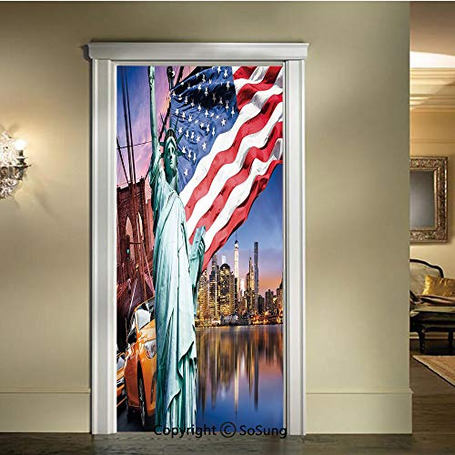 baihemiya Applique Sticker,USA Touristic Concept Collection of Liberty NYC Cityscape Flag Cars Decorative,W30.3xL78.7inch,for Home Decor Self Adhesive Removable Art Door DecalsMulticolor