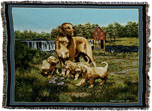 Pure Country Weavers - Golden Retriever with Puppies Woven Tapestry Throw Blanket with Fringe Cotton USA Size 72 x 54 (Tapestry Dog Throw Blanket Afghan)