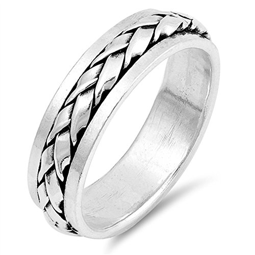 Rope Spinner Ring - Spinner Weave Rope Knot Wedding Ring New .925 Sterling Silver Band Size 10