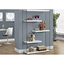 """Monarch Specialties I 3290 Glossy White with Tempered Glass Bookcase, 60"""""""