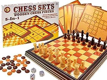 BSD Juego de Mesa - 5 en 1 Set de Juego de Mesa - Ajedrez / Backgamon / Damas / Tic TAC Toe / Molino: Amazon.es: Juguetes y juegos