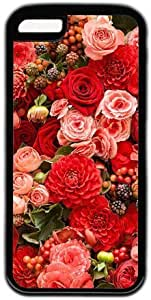 Beautiful Flowers Theme Case for iPhone 5s for you PC Material Black