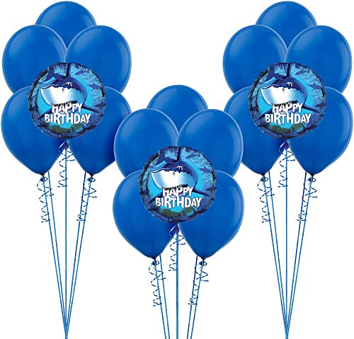 Party City Shark Balloon Supplies, Include 15 Blue Latex Balloons, 3 Shark Foil Balloons, and Matching Curling Ribbon -