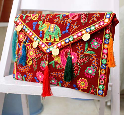 Vintage Purse Cotton Clutch Handmade Ethnic Yellow Banjara Bags Embroidery Maroon Indian Tribal vIBnRxAW66