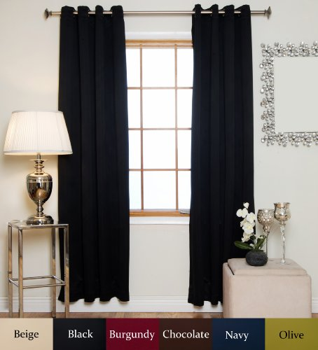 Blackout Curtain Black Antique Brass Grommet Top Thermal Insulated 74 Inch Length Pair For Sale