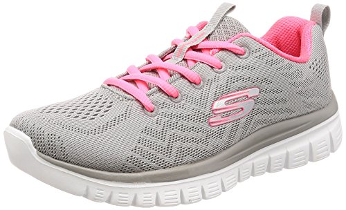 Skechers Damen Graceful-Get Connected Sneaker Grau / Koralle