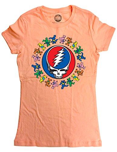 Ripple Junction Grateful Dead Juniors Dancing Bears Around SYF Light Weight 100% Cotton Crew T-Shirt SM Light Orange