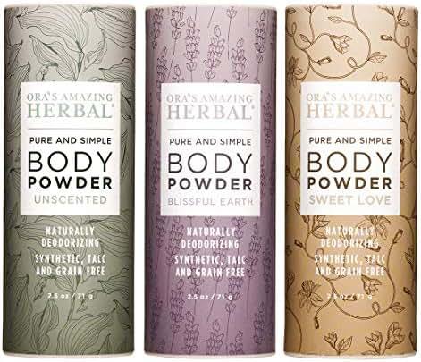 Natural Talc-Free Body Powder Gift Set, Dusting Powder, No Synthetic Fragrance, Talc, Corn, Grain, Gluten, non GMO (Full Size Variety 3 Pak)