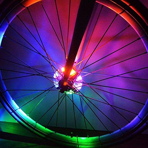 Eizur 2 Stücke Fahrrad Naben Rad Leuchten Licht LED Fahrradlichter Fahrradreifen Beleuchtung Leuchte Blitzlicht Signal lights Benutzt für Sicherheit und Warnung (Rot / Blau / Weiß / Bunt)