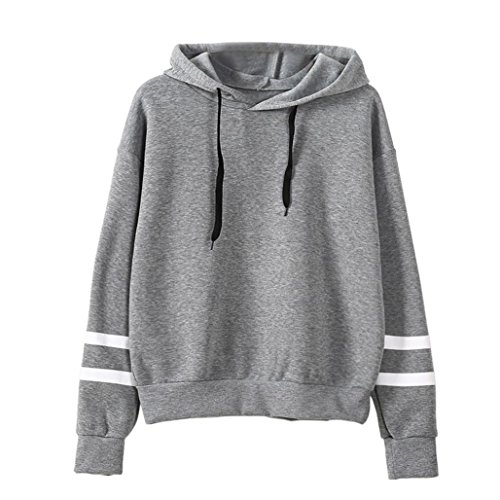 BCDshop Women Casual Long Sleeve Hoodie Girls Sweatshirt Hooded Pullover Tops Blouse (S, Gray)