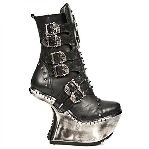 New Rock Laarzen M.ext005-c1 Hardrock Punk Gothic Damen Stiefel Schwarz