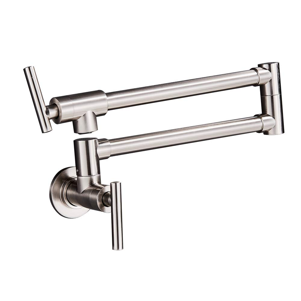 Sd Pot Filler Faucet Wall Mount,Brushed Nickel Finish and Dual Swing Joints Design