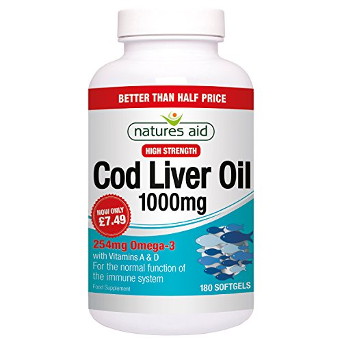 Natures Aid Cod Liver Oil, 1000 mg, 180 Softgel Capsules (High Strength,...