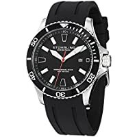 Stuhrling Original Men's 'Aquadiver' Quartz Stainless Steel and Silicone Diving Watch, Color:Black (Model: 706.01)