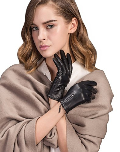 Women's Black Touchscreen Lambskin Warm Lined Leather Driving Gloves Winter Zipper