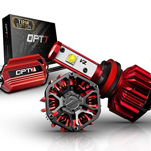 OPT7 FluxBeam H11 LED Headlight Kit w/Clear ARC-LENS Beam Bulbs & TIPM Resistor Kit - 60w 7,000Lm 6K Cool White CREE- for Dodge, Ram, Jeep, Chrysler