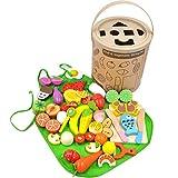 GYBBER&MUMU Kitchen Wooden Toys Fun Cutting Fruits Vegetables Pretend Food Playset Educational Early Age Basic Skills Development 40pcs Set