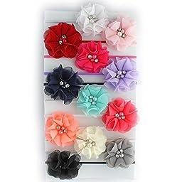 My Lello Infant Baby/Toddler Girls Chiffon Beaded Flower Skinny Headbands 12 pack Variety