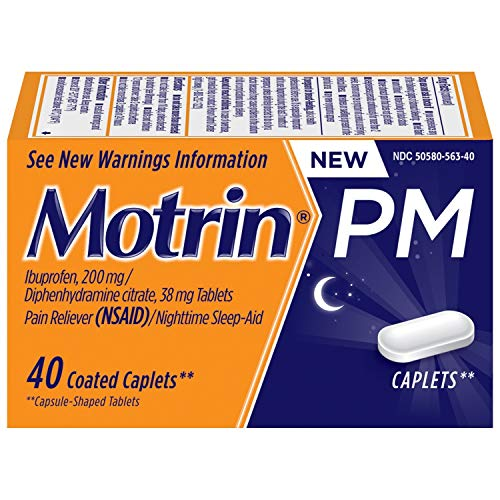Motrin PM Caplets, 200 mg Ibuprofen & 38 mg Sleep Aid, Nighttime Relief for Minor Pains, 40 ct.