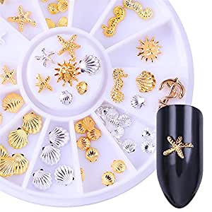 BORN PRETTY Gold Silver Rivet Studs 3D Nail Decoration Starfish Shell Anchor manicuring Nail Art Decor in Wheel