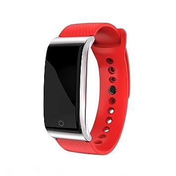 YIGIAO Smart Watch Pulsera de frecuencia cardíaca Pulso tensiómetro Reloj Deportivo Impermeable Pulsera de Fitness Inteligente, Color Rojo: Amazon.es: ...