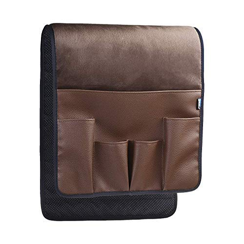 BCP Dark Brown Color Velvet Sofa Couch Chair Armrest Soft Caddy Organizer Holder for Remote Control, Cell Phone, Book, - Control Book Holder Remote