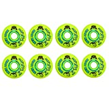 Rink Rat Wheels 76mm 84A Trickster X Grn/Blue 8-Pack Inline Indoor Roller Hockey