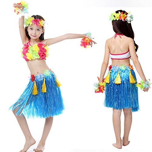 40 Cm Girls 5 pcs Per Set Hawaiian Hula Grass Skirt Costumes Party Dress (Blue) (Hula Set)