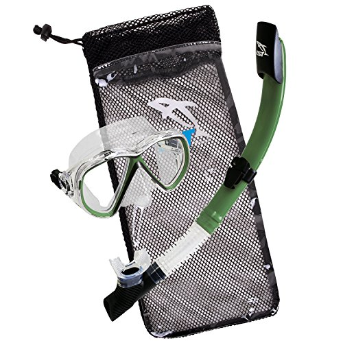 IST Snorkeling Combo Set: Mask, Semi-Dry Snorkel, Mesh Travel Bag (Green, Adult Standard)