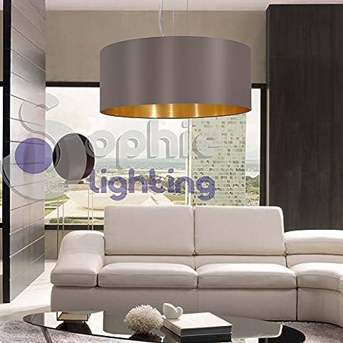 Hängelampe Pendelleuchte Verstellbar Lampenschirm Stoff Grau Gold Rund  Durchmesser 53 Cm Modernes Esszimmer Küche Wohnzimmer Esszimmer