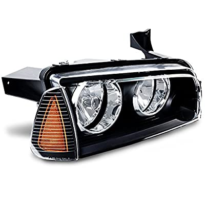 Headlight Assembly for 2006 2007 2008 2009 2010 Dodge Charger Black Housing Amber Reflector with Corner Signal Lights: Automotive